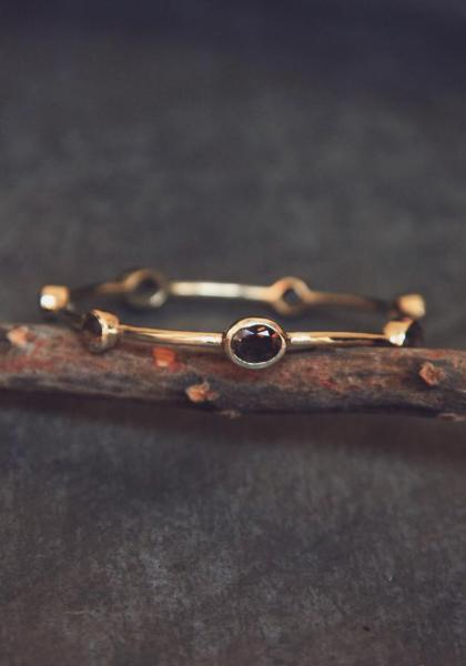 Opulent Ore Brass Bangle - Smokey Quartz