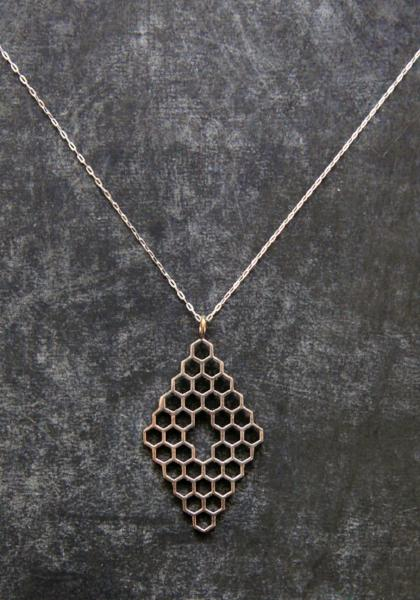 Opulent Ore Silver Plated Honeycomb Necklace