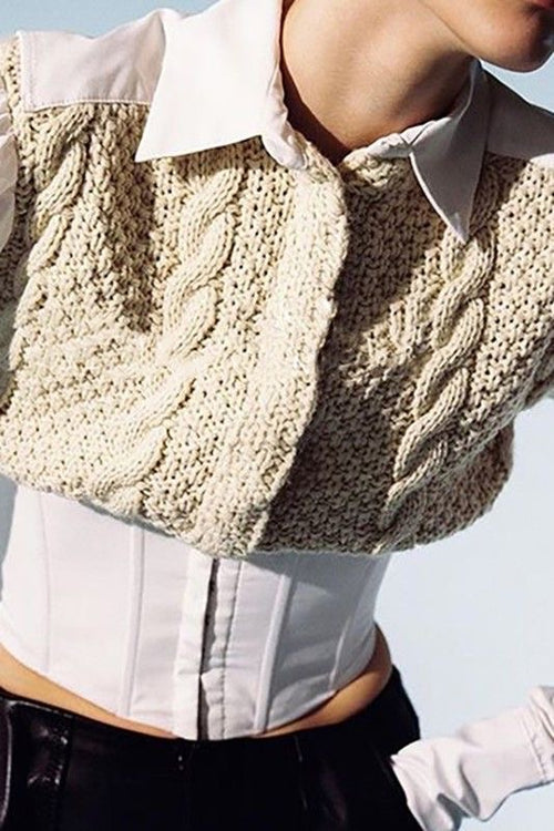 Knitted Twist Bubble Sleeve Top