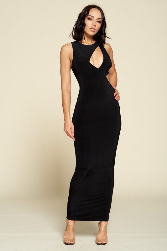 Asymmetrical Cut-out Maxi Dress