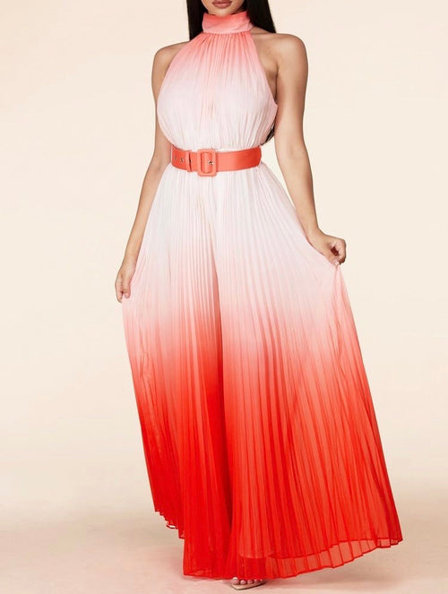 Ombre Halter Pleated Jumpsuit