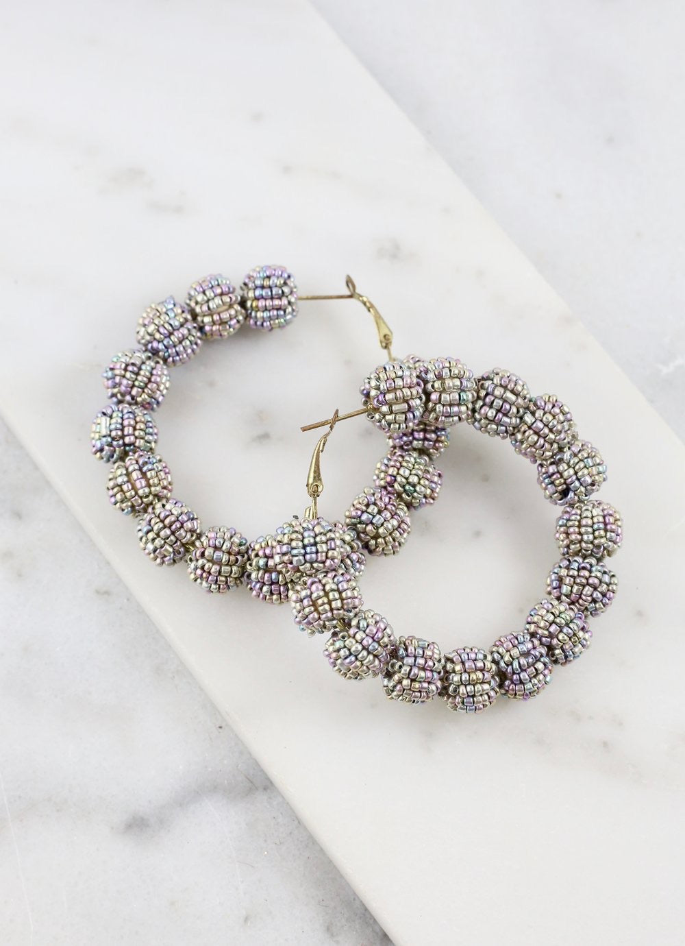 Seed Bead Ball Hoops