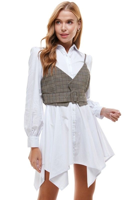 Shirt Dress with Vest