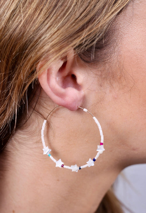 Beaded Star Hoops