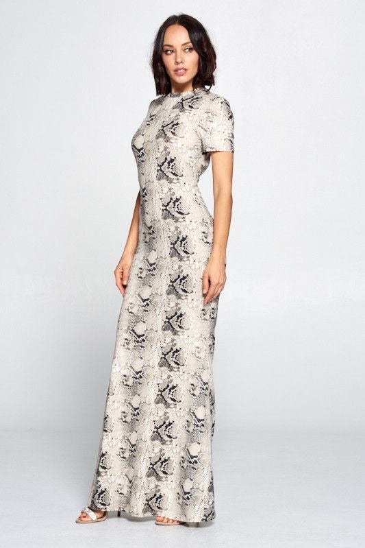 Snakeskin Maxi Dress with Back Cut-out