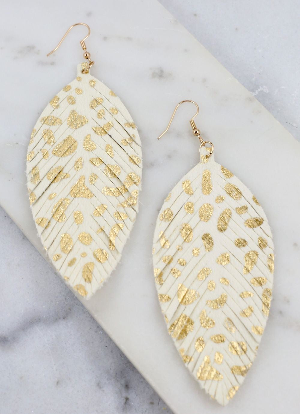 Animal Print Feather Earrings
