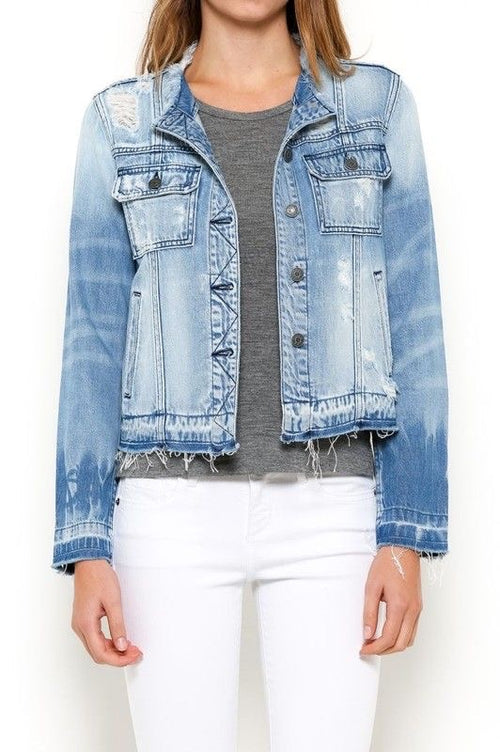 Light Wash Collarless Denim Jacket