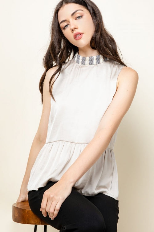 Knit Neck Sleeveless Top