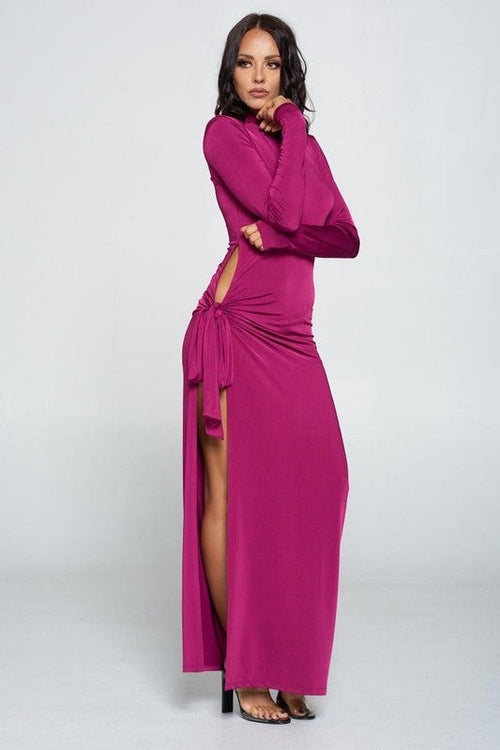Turtleneck Maxi Dress with Side Cut-out
