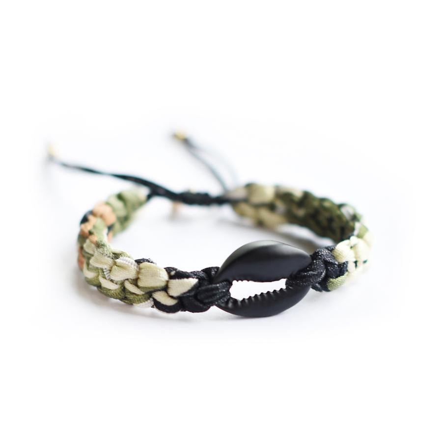 Single Shell Fabric Bracelet - Matte Black/Camo