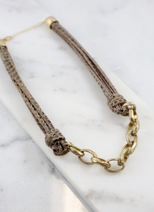 Chain & Leather Necklace
