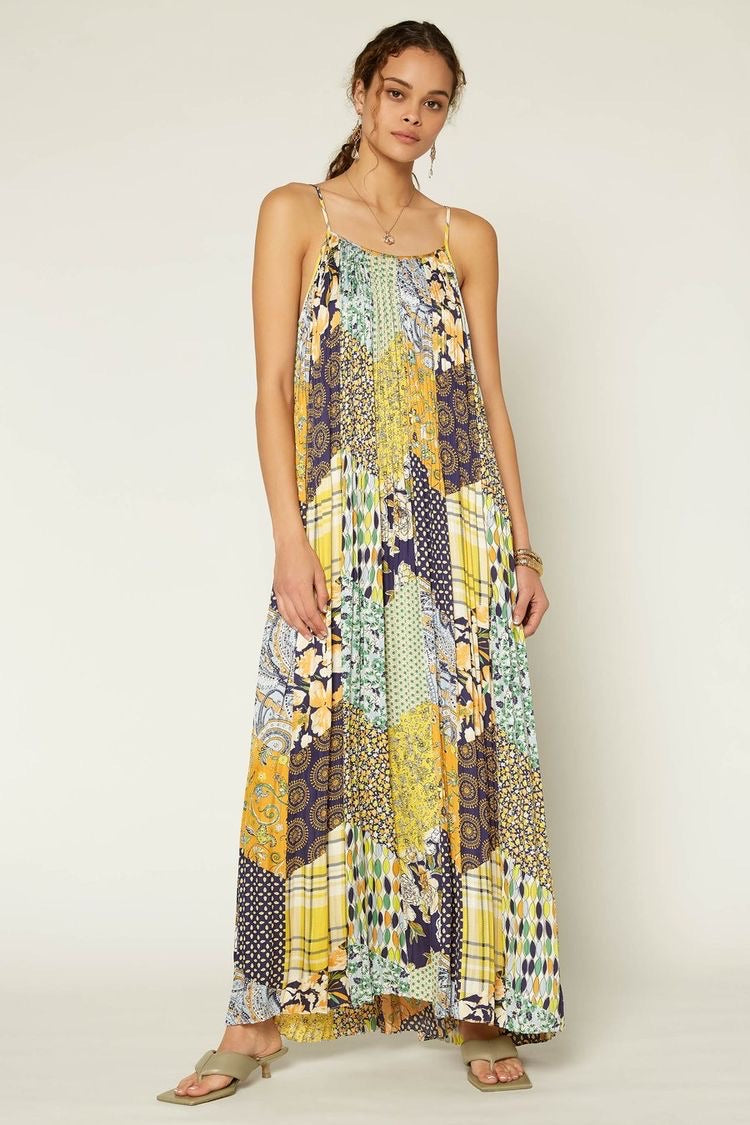 Patchwork Pleated Maxi