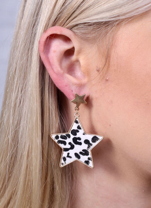 Animal Print Star Earrings