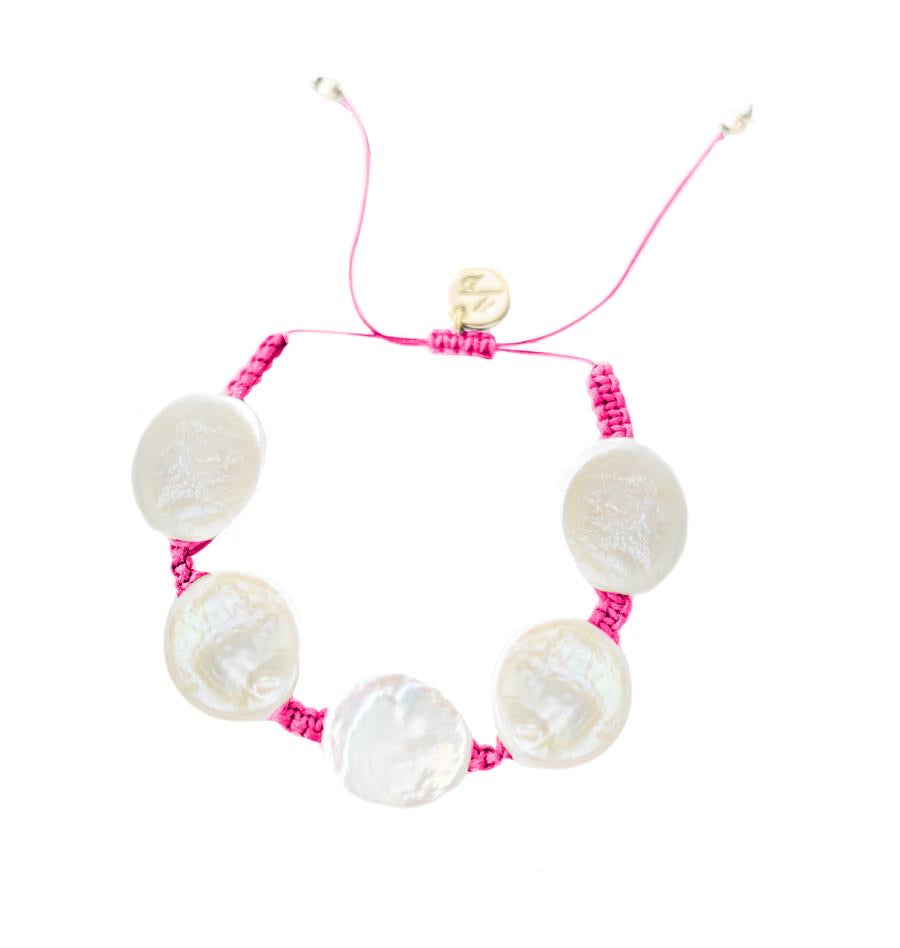 Coin Pearl Bracelet- Hot Pink Cord