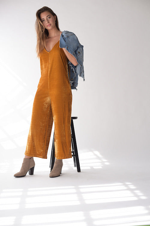 Velvet Shoulder Tie Jumpsuit