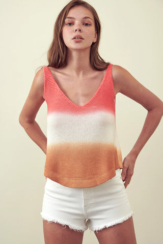 Round Hem Rib Mix Top