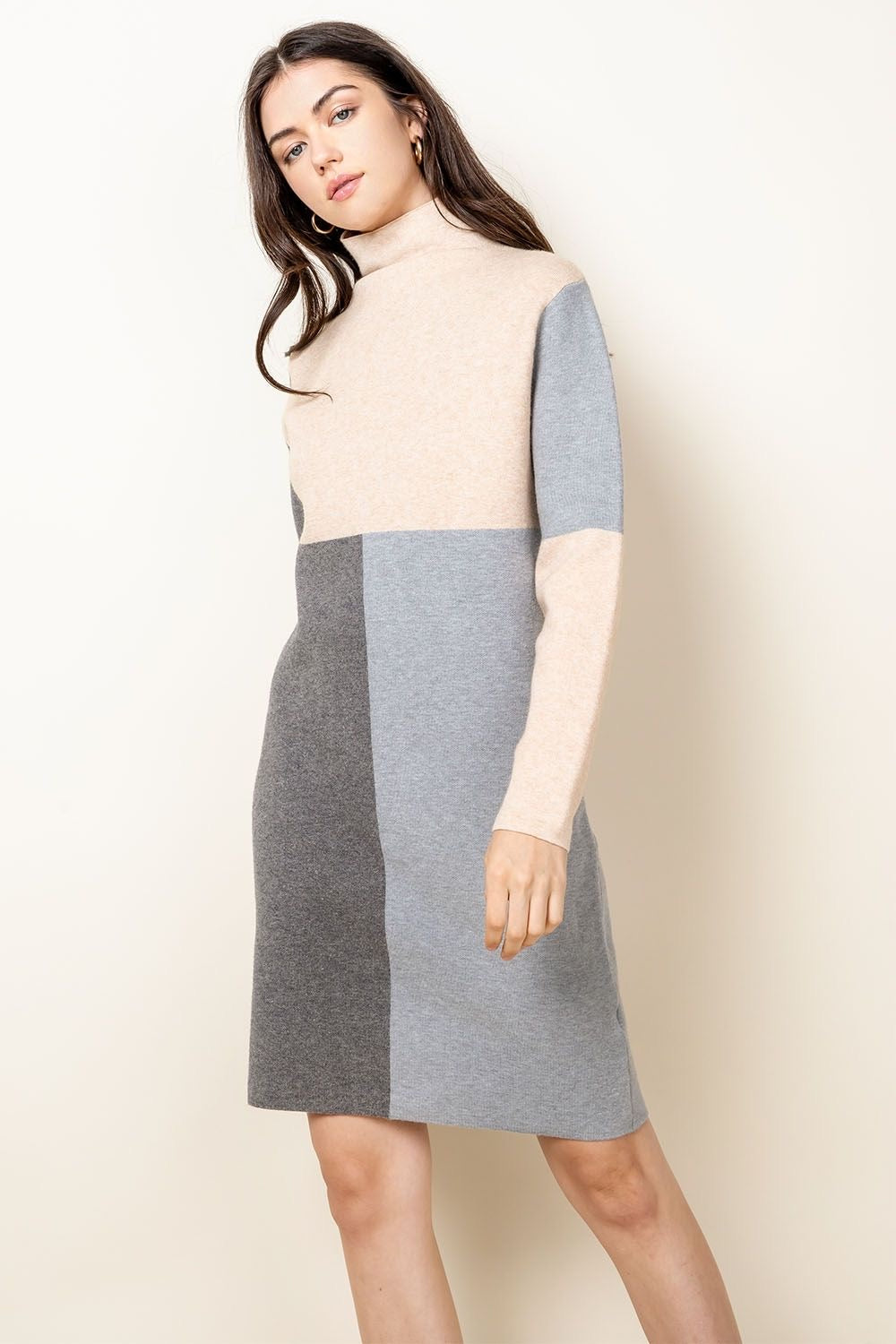 Color-blocked Sweater Dress