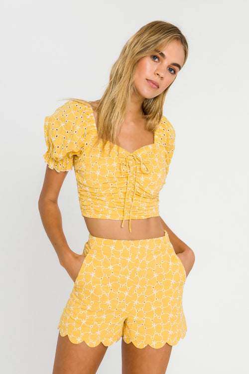 Eyelet Ruched Crop Top