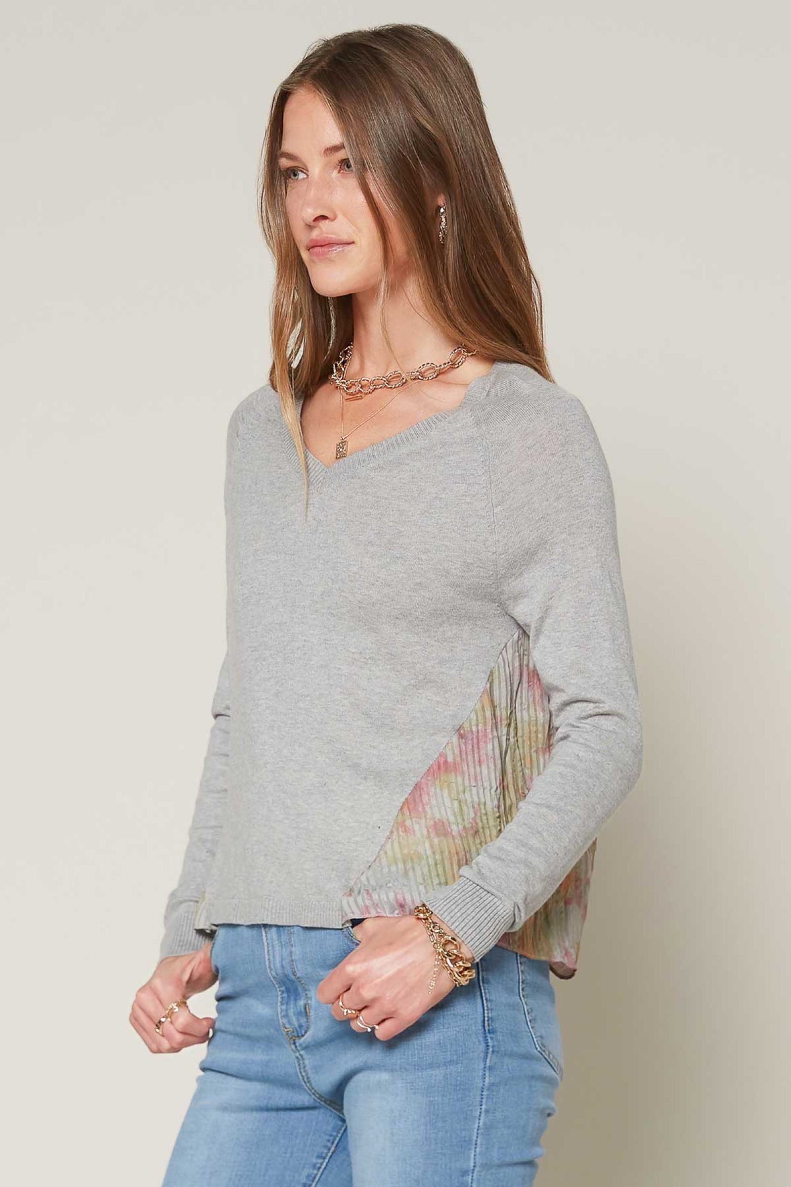 Contrast Pleated Tie Dye Sweater