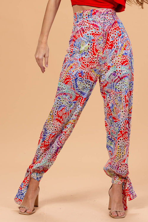 Embroidered Floral Pants
