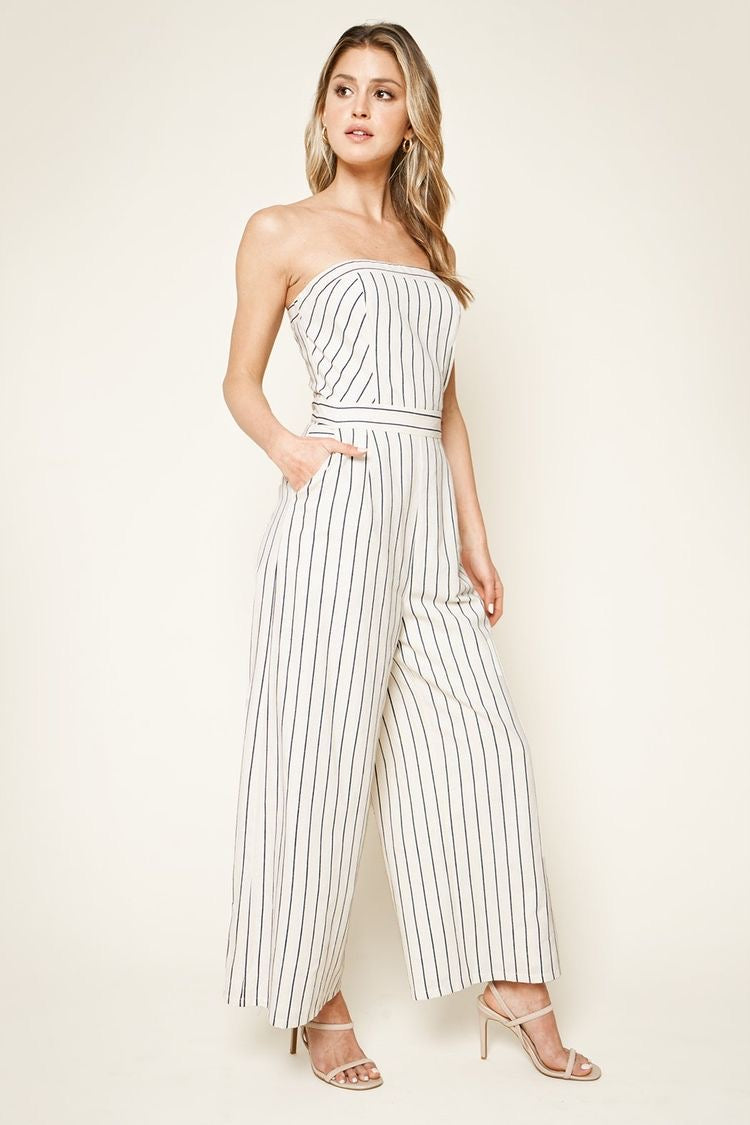 Sunlife Striped Strapless Jumpsuit