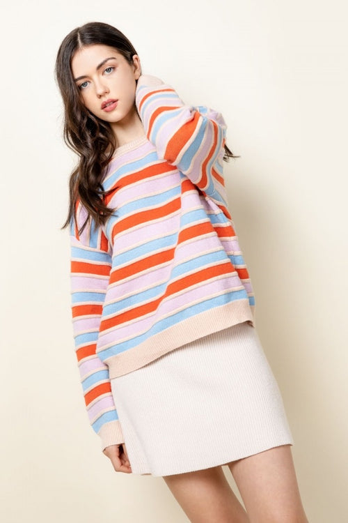 Color Blocked Stripe Sweater