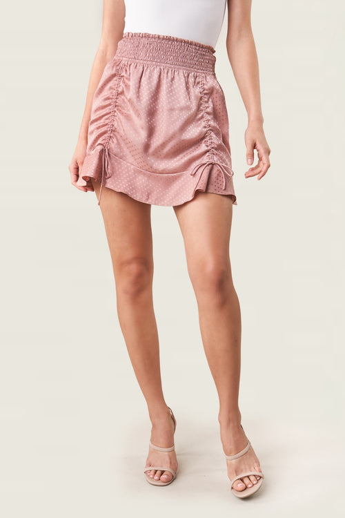 Satin Smocked Mini Skirt