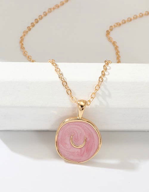 Pink Horse Shoe Enamel Necklace