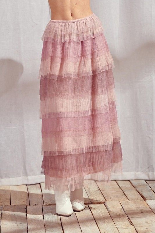 Multi Pink-Toned Maxi Skirt