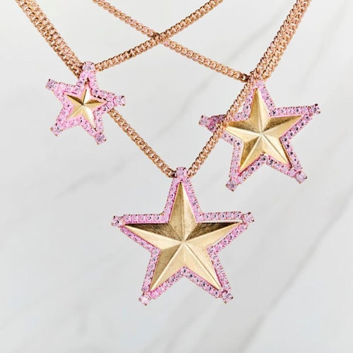 Rhinestone Pink Cowboy Necklace