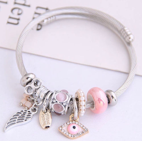 Pink Angel & Eye Charm Bracelet