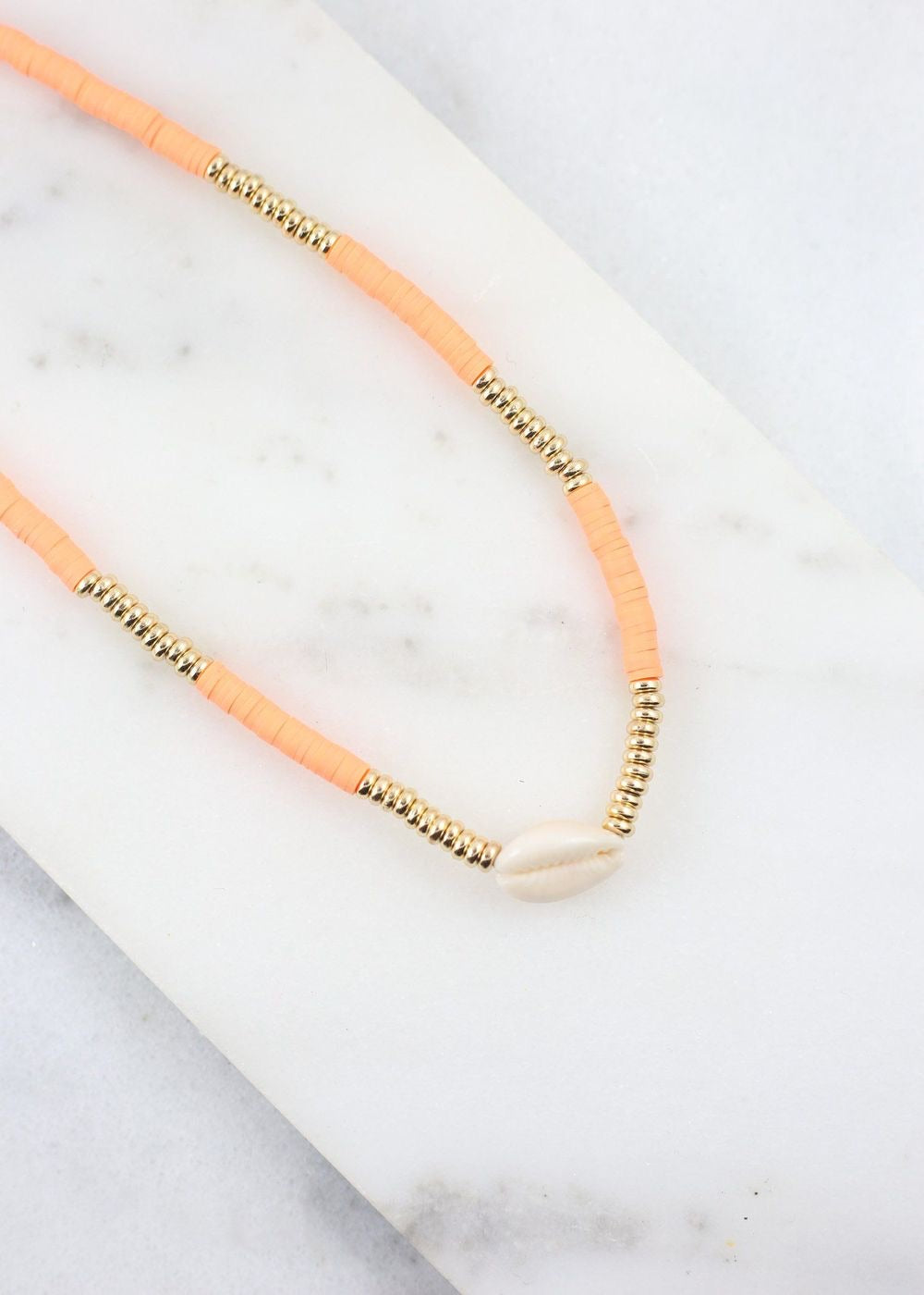 Neon Orange Shell Necklace
