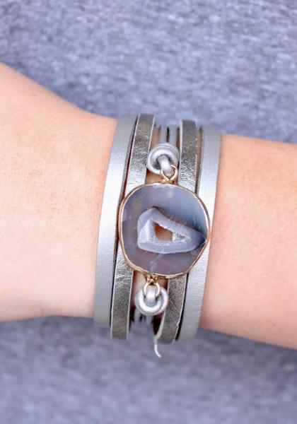Leather & Stone Magnetic Bracelet