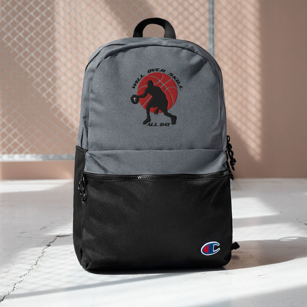 """Will Over Skill"" Embroidered Champion Backpack"