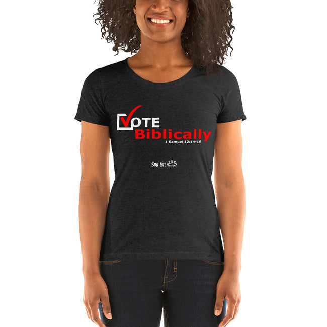 """Vote Biblically"" Ladies' short sleeve t-shirt"