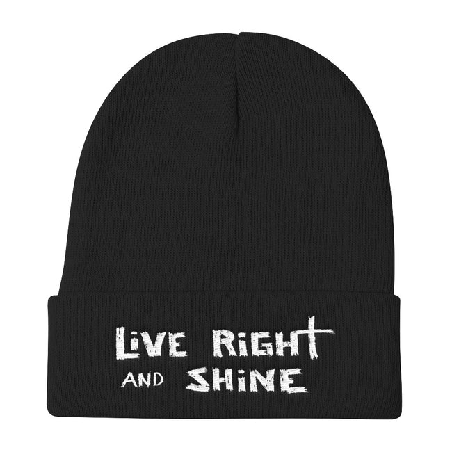 """LiVE RiGHT and SHiNE"" Knit Beanie"
