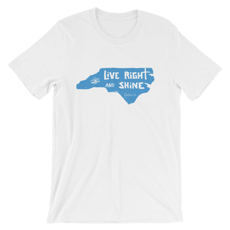 """LiVE RiGHT and SHiNE"" in NC White w/ Red Short-sleeve Unisex T-Shirt"