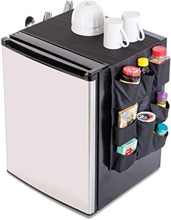 Mini Fridge Organizer w/ 12 Pockets  - Black