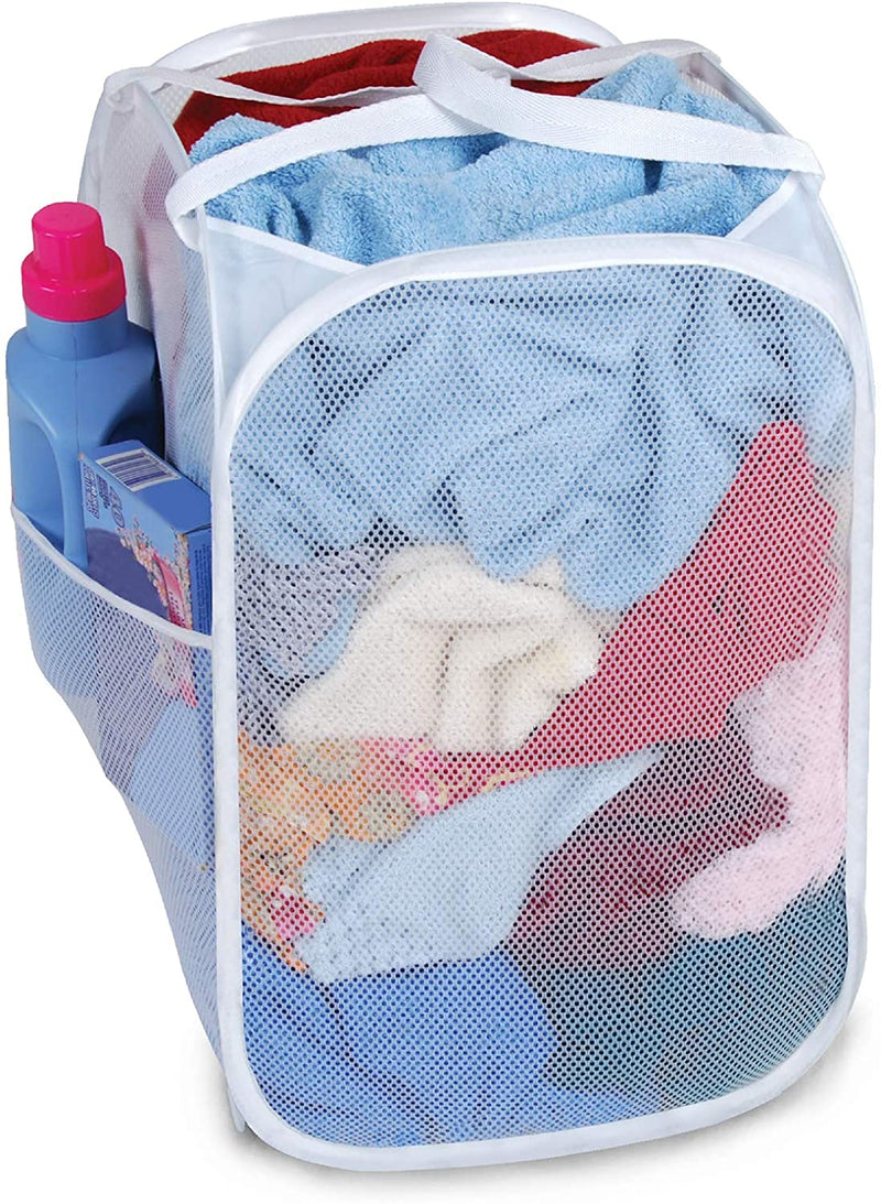 Pop Up Laundry Hamper with Handles & Pocket