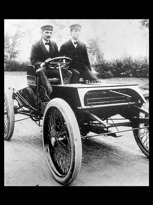 "Henry Ford driving ""Sweepstakes"""