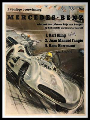 G.P of Berlin original Mercedes Benz Factory Poster by Hans Liska, autographed