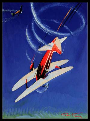 Aviation Aerobatic Loops original painting by Geo Ham