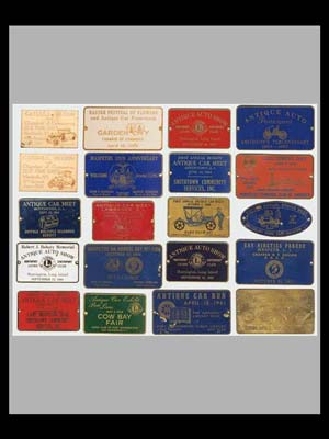 Collection of 20 Antique car shows & meets dash plaques