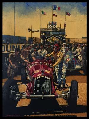Tazio Nuvolari's Alfa Romeo P3, Acrylic Painting on Canvas by Barry Rowe