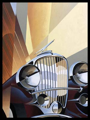 Duesenberg Model J painting by Alain Lévesque, Canada, 2010, oil on canvas
