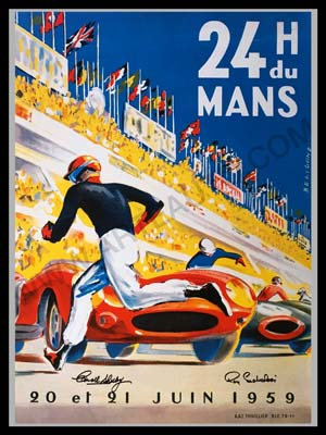 1959 24 Hours of Le Mans official ACO reproduction poster, autographed by winners