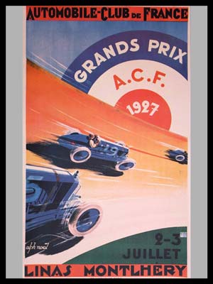 French GP at Montlhery 1927 official event poster by Alph Noel