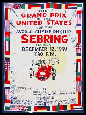 Grand Prix of the United States 1959 in Sebring large cloth tapestry