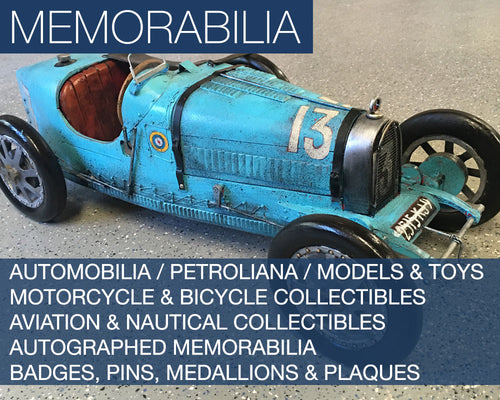 The Memorabilia Collection - Featuring Automobilia / Petroliana / Models & Toys Motorcycle & Bicycle Collectibles Aviation & Nautical Collectibles Autographed Memorabilia Badges, Pins, Medallions & Plaques