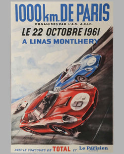 1000 km de Paris 1961 original event poster by Beligond